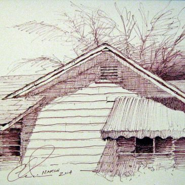 HOUSE WITH GREEN AWNING, SEPIA INK